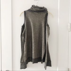 Open Shoulder Turtleneck Metallic Sweater
